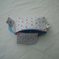 Jewellery purse sewn with Cath Kidston fabrics. The net earring holder is held firmly in place by a short strap. It cannot fall out if you do it up properly!