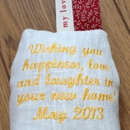 Message on back of my new home gift.